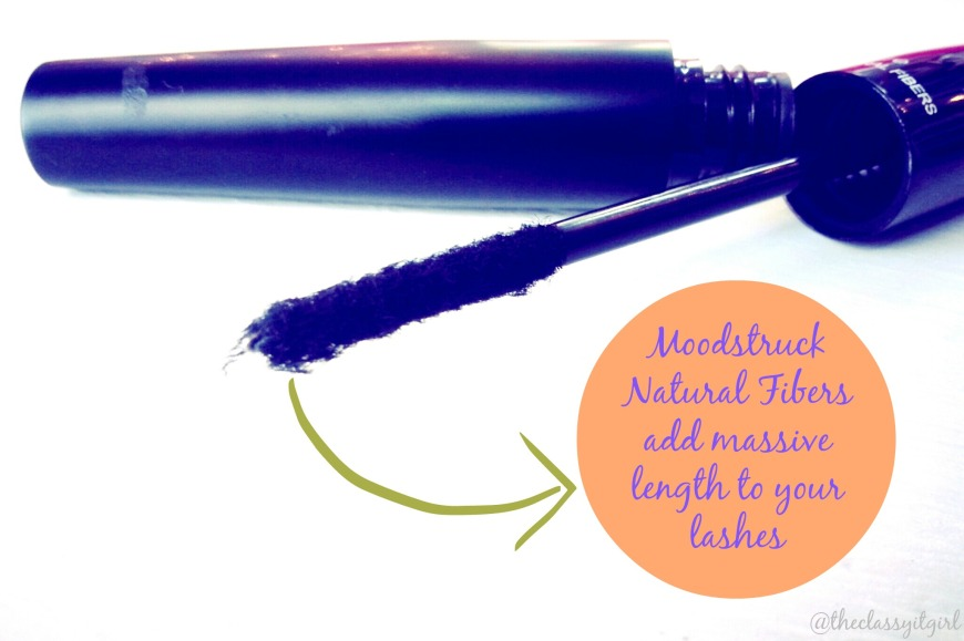 The natural fibers can be seen on the wand of the mascara.