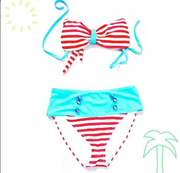 Loving my red, white & blue high waisted bikini!