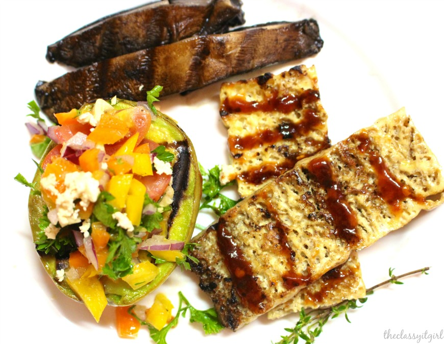 Grilled avocado with fresh tomato and pepper salsa, grilled portobello mushrooms and grilled tofu steak