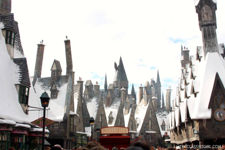 A first glimpse into the magical world of Hogsmeade. Love how realistic the snow looks!